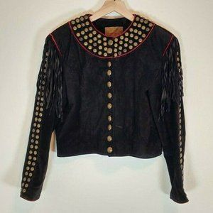 Double D Ranch Wear Small Leather Jacket Pig Suede